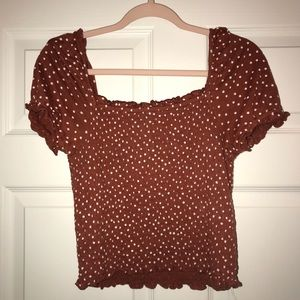 American Eagle Ruched Polka Dot Top Size S